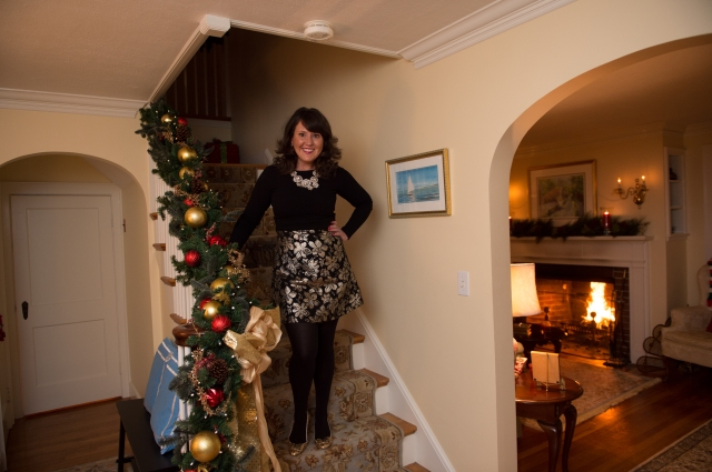 Staircase Holiday OOTD Post