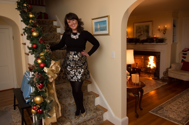 Staircase-Holiday Party OOTD Post
